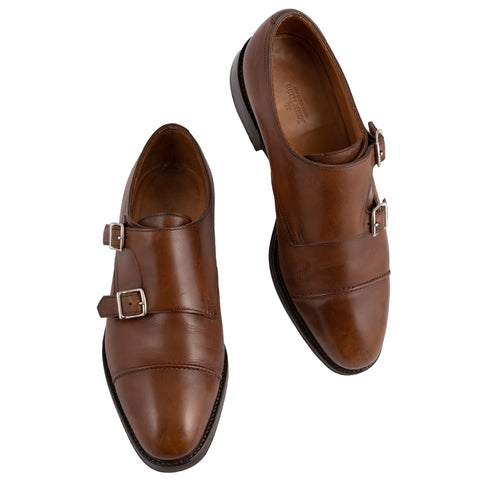 "JOHN LOBB ""William II"" Brown Calf Double Monk Shoes UK 6E US 7 Last 9795"