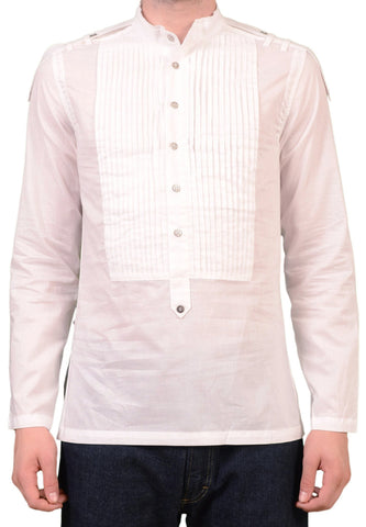 JOHN RICHMOND Solid White Cotton Pop-over Tuxedo Dress Shirt US S NEW EU 48 - SARTORIALE - 1