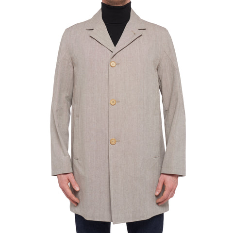 K. PUNTO ROSSO by KITON Napoli Gray Twill Cotton Coat Jacket EU 50 NEW US 40
