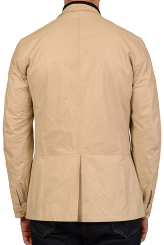 K. Punto Rosso by KITON Beige Leather Jacket Coat EU 50 NEW US 40 Defect