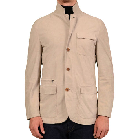 K. Punto Rosso by KITON Beige Suede Jacket Coat EU 50 NEW US M Defect