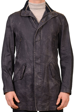 K. Punto Rosso by KITON Blue Distressed Cotton Hooded Jacket Coat 50 NEW US 40