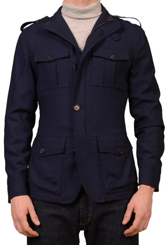 K. Punto Rosso by KITON Napoli Navy Blue Wool Field Jacket Coat EU 50 NEW US 40