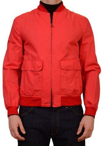 K. Punto Rosso by KITON Napoli Navy Ferrari Red Cotton Bomber Jacket 50 NEW 40