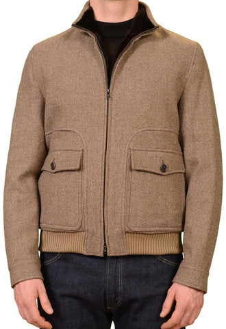 K. Punto Rosso by KITON Taupe Wool Marmot Fur Lined Bomber Jacket 50 NEW US 40