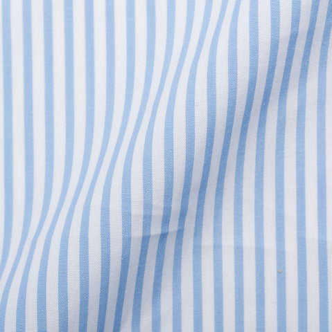 KITON Handmade Bespoke Light Blue Striped Poplin Cotton Dress Shirt US 15.75