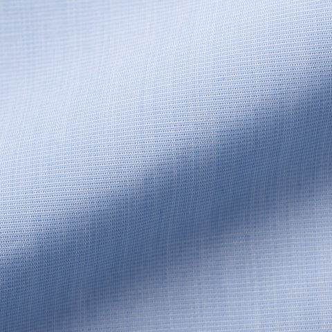 KITON Handmade Bespoke Solid Blue End-on-End Cotton Dress Shirt US 15.75