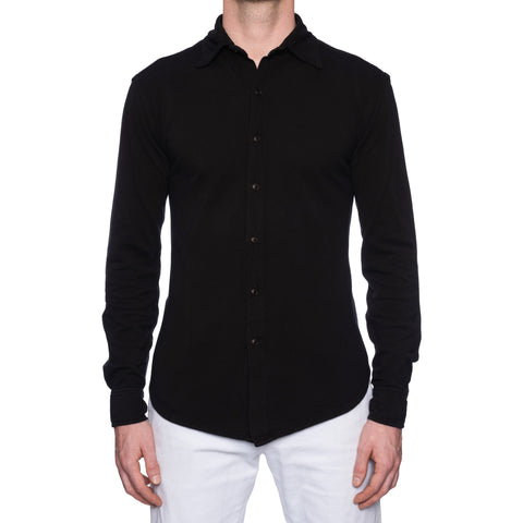 KITON Napoli Black Garment Dyed Cotton Pique Casual Shirt EU 50 NEW US M