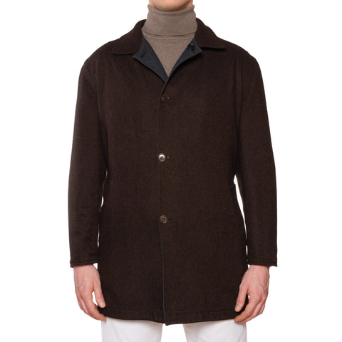 KITON Napoli Blue-Brown Reversible Cotton Cashmere Rain Coat EU 52 US 42/ L
