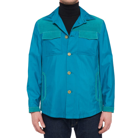 KITON Napoli Turquoise Silk Jacket Coat with Leather Details EU 50 NEW US 38 40