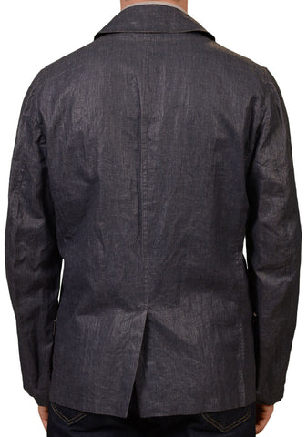 KITON Napoli Blue Cotton Double Breasted Silk Lined Pea Coat Jacket 52 NEW US 42