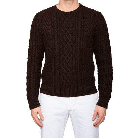 KITON Brown Cashmere Cable Knit Crewneck Heavy Sweater EU 52 NEW US L