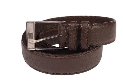 "KITON Brown Hand-Stitched Buffalo Leather Silver Buckle Belt 90 NEW 36"" With Box - SARTORIALE - 1"