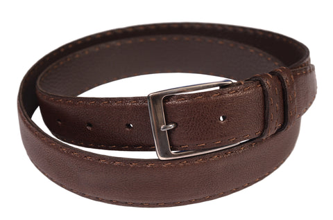 KITON Hand-Stitched Buffalo Leather Sterling Silver Buckle Belt 120/48 NEW Box - SARTORIALE - 1