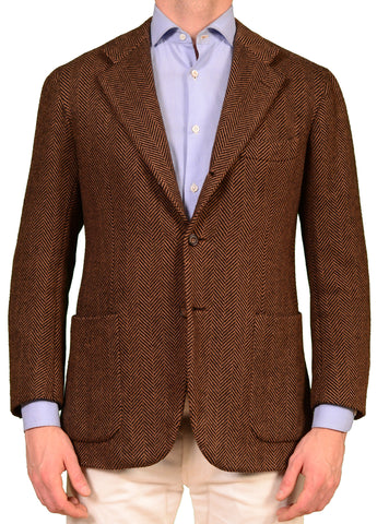 KITON Brown Herringbone Camel Hair Jacket Sport Coat Leather Patch 50 NEW 38 40 - SARTORIALE - 1
