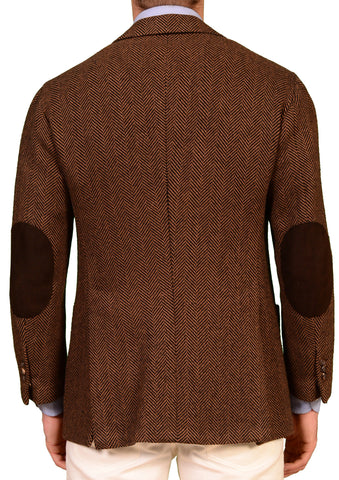 KITON Brown Herringbone Camel Hair Jacket Sport Coat Leather Patch 50 NEW 38 40 - SARTORIALE - 2