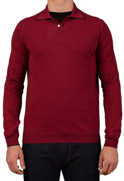 "KITON ""CIPA1960"" Burgundy Merino Superfine 160 Wool Polo Sweater EU 50 NEW US M - SARTORIALE - 1"