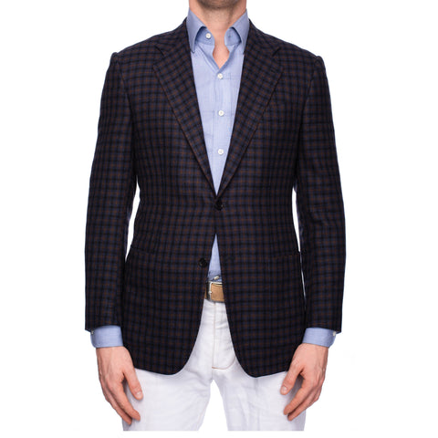KITON CIPA 1960 Handmade Blue Plaid Wool Jacket Sport Coat EU 50 NEW US 40