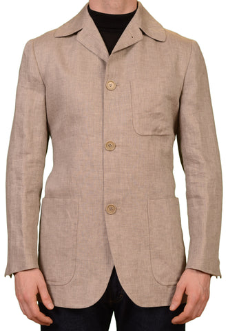 KITON Napoli CIPA 1960 Beige Hemp Spring-Summer Coat Jacket EU 50 NEW US 40
