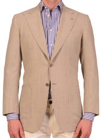 "KITON ""CIPA 1960"" Napoli Gray Striped Peak Lapel Wool Silk Jacket 38 NEW 48 R9 - SARTORIALE - 1"