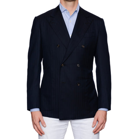 KITON Diamante Blu Handmade Dark Blue Herringbone Wool DB Jacket EU 48 US 38