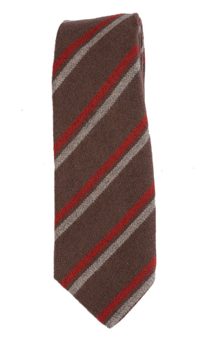 KITON Hand-Made Seven Fold Brown Diagonal Striped Cashmere-Wool-Silk Tie NEW - SARTORIALE - 1