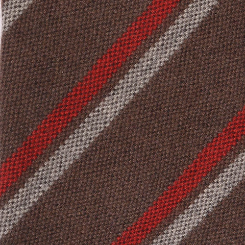 KITON Hand-Made Seven Fold Brown Diagonal Striped Cashmere-Wool-Silk Tie NEW - SARTORIALE - 4