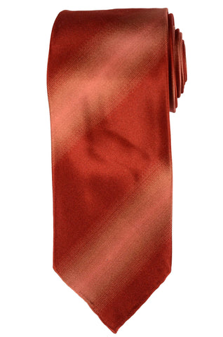 KITON Hand-Roll Brick Red Silk Striped Seven Fold Tie NEW - SARTORIALE - 1