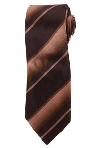 KITON Hand-Roll Brown Striped Silk Seven Fold Tie NEW