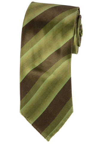 KITON Hand-Roll Green Striped Silk Seven Fold Tie NEW - SARTORIALE - 1
