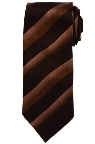 KITON Hand-Roll Seven Fold Unlined Brown Striped Silk Tie NEW - SARTORIALE - 1