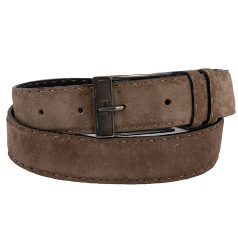 "KITON Hand-Stitched Suede Leather Sterling Silver Buckle Belt 95cm 38"" NEW"