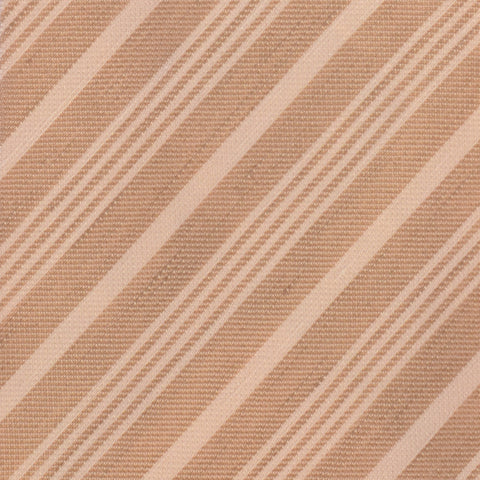 KITON Hand-roll Brown Striped Linen - Silk Seven Fold Tie NEW