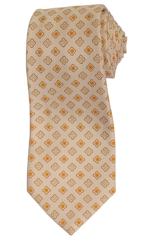 KITON Hand Made Beige Flower Medallion Silk Seven Fold Tie NEW