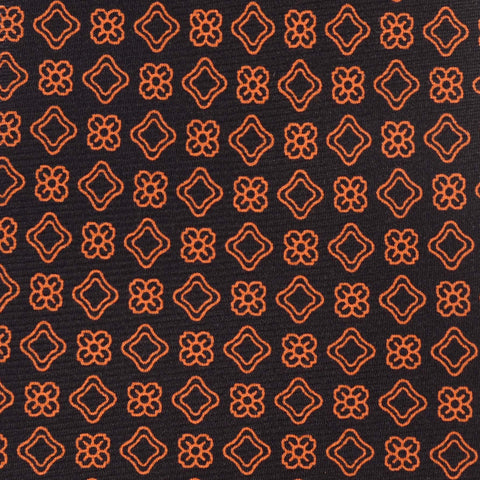 KITON Hand Made Black & Orange Circle Medallion Silk Seven Fold Tie NEW