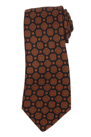 KITON Hand Made Black & Orange Square Medallion Silk Seven Fold Tie NEW