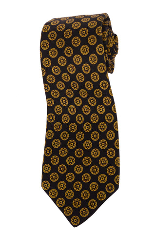 KITON Hand Made Black & Yellow Circle Medallion Silk Seven Fold Tie NEW