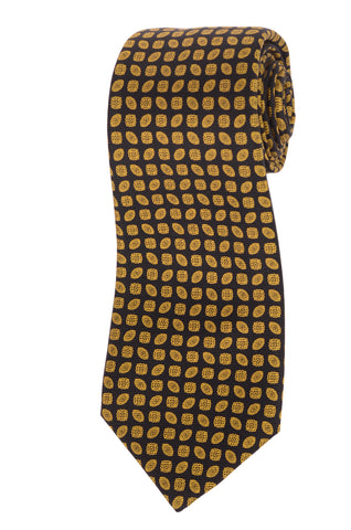 KITON Hand Made Black & Yellow Silk Seven Fold Tie NEW