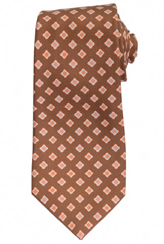 KITON Hand Made Brown Flower Medallion Silk Seven Fold Tie NEW