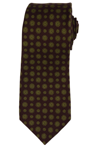 KITON Hand Made Seven Fold Brown Flower Medallion Silk Tie NEW - SARTORIALE - 1