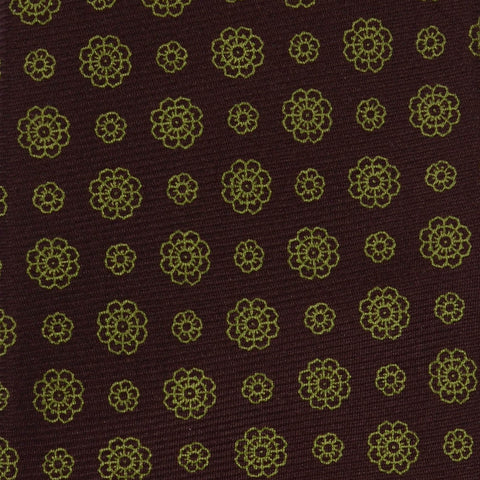 KITON Hand Made Seven Fold Brown Flower Medallion Silk Tie NEW - SARTORIALE - 4