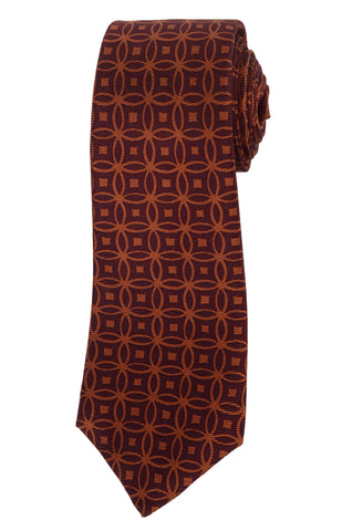 KITON Hand Made Brown Silk Seven Fold Tie NEW