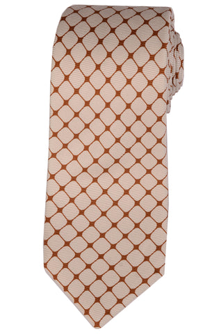 KITON Hand Made White Brown Silk Seven Fold Tie NEW - SARTORIALE - 1