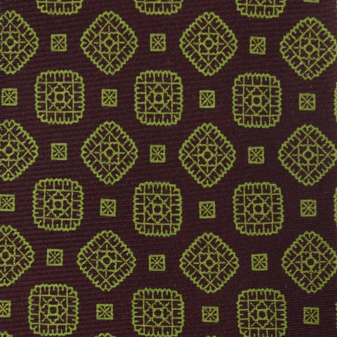 KITON Hand Made Dark Brown Medallion Silk Seven Fold Tie NEW