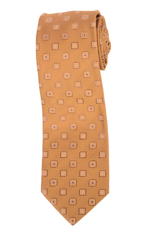 KITON Hand Made Gold Medallion Silk Seven Fold Tie NEW