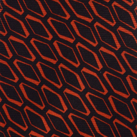 KITON Hand Made Made In Italy Black Geometric Silk Seven Fold Tie NEW