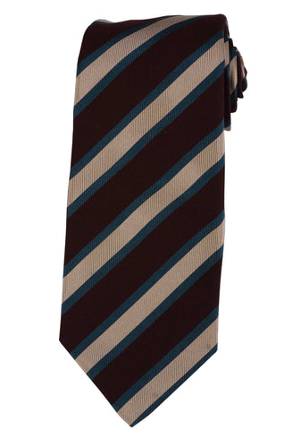 KITON Hand Made Multi - Color Striped Silk Seven Fold Tie NEW - SARTORIALE - 1