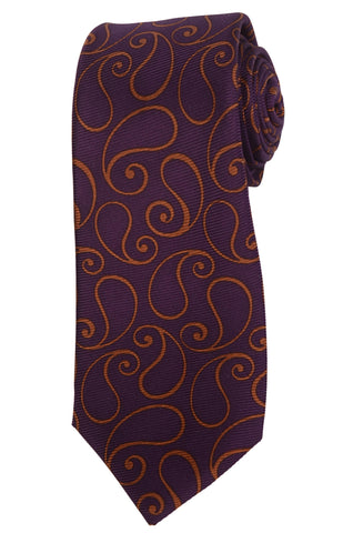 KITON Hand Made Purple Paisley Silk Seven Fold Tie NEW