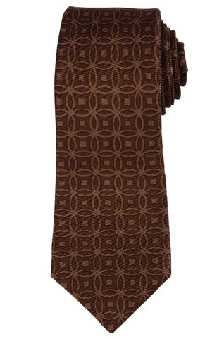 KITON Hand Made Seven Fold Brown Circle Medallion Silk Tie NEW - SARTORIALE - 1