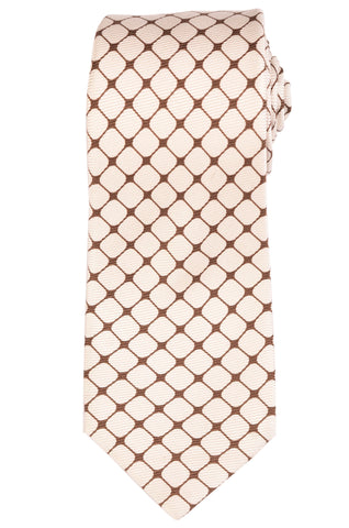 KITON Hand Made Seven Fold White-Brown Geometric Silk Tie NEW - SARTORIALE - 1